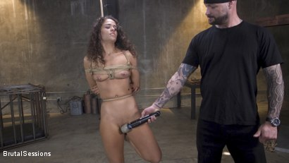 Photo number 2 from Petite Fresh Faced Whore Victoria Voxxx Bound in Rope and Brutally Fucked shot for Brutal Sessions on Kink.com. Featuring Cyrus King  and Victoria Voxxx in hardcore BDSM & Fetish porn.
