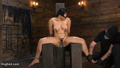 Photo number 16 from Mia is Bound in Grueling Rope Bondage and Brutally Tormented shot for Hogtied on Kink.com. Featuring Mia Little in hardcore BDSM & Fetish porn.