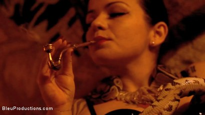 Photo number 3 from The Black Widow: Chapter One shot for Bleu Films on Kink.com. Featuring Yumie Volupte, Ardiente de la Huerta, Billybutt Rosebud and AJ Dirtystein in hardcore BDSM & Fetish porn.
