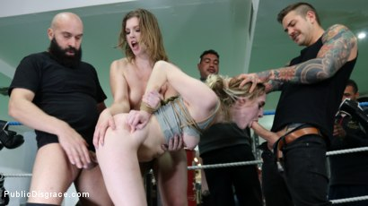 Photo number 4 from Cadence Lux, Spit-Roasted by Spanish Dick shot for Public Disgrace on Kink.com. Featuring Ella Nova , Max Cortes, Juan Lucho and Cadence Lux in hardcore BDSM & Fetish porn.