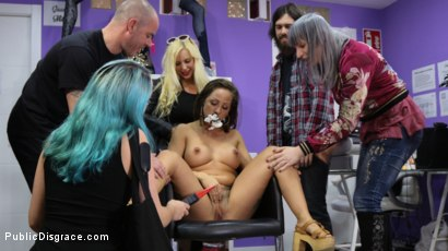 Photo number 2 from Tight And Curvaceous Betty Foxxx Fucked In Public By New Young Domme! shot for Public Disgrace on Kink.com. Featuring Juan Lucho, Betty Foxxx, Mona Wales and Liz Rainbow in hardcore BDSM & Fetish porn.