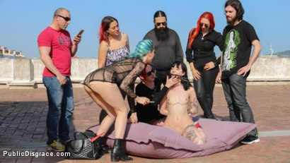 Photo number 4 from Spooky Submissive Slut Charlotte Sartre Gets Boned in a Graveyard! shot for Public Disgrace on Kink.com. Featuring Juan Lucho, Mz Berlin, Charlotte Sartre, Liz Rainbow and Mona Wales in hardcore BDSM & Fetish porn.