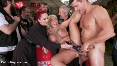 Photo number 9 from Busty Blonde Candela X Submits In Biker Bar shot for Public Disgrace on Kink.com. Featuring Ramon Nomar, Mz Berlin and Candela X in hardcore BDSM & Fetish porn.