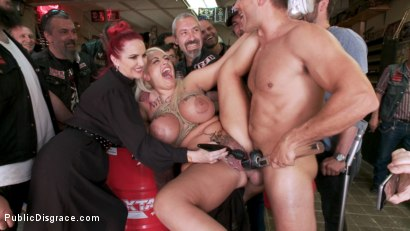 Photo number 10 from Busty Blonde Candela X Submits In Biker Bar shot for Public Disgrace on Kink.com. Featuring Ramon Nomar, Mz Berlin and Candela X in hardcore BDSM & Fetish porn.