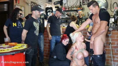 Photo number 11 from Busty Blonde Candela X Submits In Biker Bar shot for Public Disgrace on Kink.com. Featuring Ramon Nomar, Mz Berlin and Candela X in hardcore BDSM & Fetish porn.