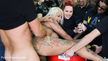 Photo number 14 from Busty Blonde Candela X Submits In Biker Bar shot for Public Disgrace on Kink.com. Featuring Ramon Nomar, Mz Berlin and Candela X in hardcore BDSM & Fetish porn.