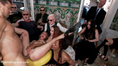 Photo number 7 from Fancy Party Interrupted To Tame The Feral Princess of Filth! shot for Public Disgrace on Kink.com. Featuring Ramon Nomar, Nikki Darling, Bella Rossi, Mimosa and Mona Wales in hardcore BDSM & Fetish porn.