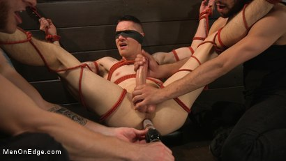 Photo number 14 from New to KinkMen, Zak Bishop Gets Sucked, Edged and Fisted Till He Blows shot for Men On Edge on Kink.com. Featuring Zak Bishop in hardcore BDSM & Fetish porn.