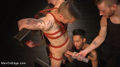 Photo number 5 from New to KinkMen, Zak Bishop Gets Sucked, Edged and Fisted Till He Blows shot for Men On Edge on Kink.com. Featuring Zak Bishop in hardcore BDSM & Fetish porn.