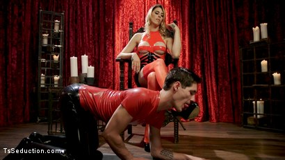 Photo number 2 from Hot Blonde Casey Kisses Teaches Prick Lesson in Humility with Her Cock shot for TS Seduction on Kink.com. Featuring Casey Kisses and Tony Orlando in hardcore BDSM & Fetish porn.