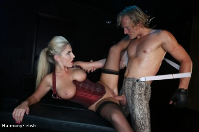 Photo number 14 from Bitch Boudoir - Blonde MILF Fucks her Gimp	 shot for Harmony Fetish on Kink.com. Featuring Georgie Lyall and Clark Kent in hardcore BDSM & Fetish porn.