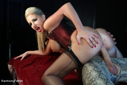 Photo number 10 from Bitch Boudoir - Blonde MILF Fucks her Gimp	 shot for Harmony Fetish on Kink.com. Featuring Georgie Lyall and Clark Kent in hardcore BDSM & Fetish porn.