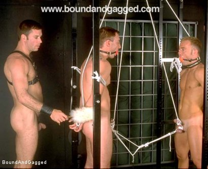Photo number 32 from Masters & Slaves 1: What's Mine is Yours shot for Bound And Gagged on Kink.com. Featuring Jay Ross, Jason Branch, Steve Ross and Aaron Tanner in hardcore BDSM & Fetish porn.