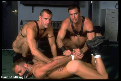 Photo number 5 from Masters & Slaves 1: What's Mine is Yours shot for Bound And Gagged on Kink.com. Featuring Jay Ross, Jason Branch, Steve Ross and Aaron Tanner in hardcore BDSM & Fetish porn.