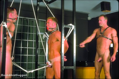 Photo number 10 from Masters & Slaves 1: What's Mine is Yours shot for Bound And Gagged on Kink.com. Featuring Jay Ross, Jason Branch, Steve Ross and Aaron Tanner in hardcore BDSM & Fetish porn.