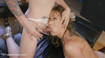 Photo number 5 from Lena Kelly's Creampie Surprise shot for TS Pussy Hunters on Kink.com. Featuring Cheyenne Jewel and Lena Kelly in hardcore BDSM & Fetish porn.