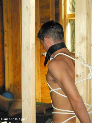 Photo number 12 from Bondage Under Construction: Get on Your Knees and Beg shot for Bound And Gagged on Kink.com. Featuring Jim Richards and Brent Woods in hardcore BDSM & Fetish porn.
