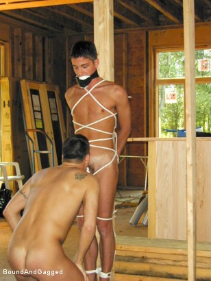 Photo number 4 from Bondage Under Construction: Get on Your Knees and Beg shot for Bound And Gagged on Kink.com. Featuring Jim Richards and Brent Woods in hardcore BDSM & Fetish porn.