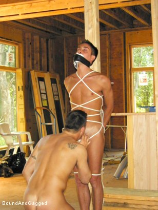 Photo number 5 from Bondage Under Construction: Get on Your Knees and Beg shot for Bound And Gagged on Kink.com. Featuring Jim Richards and Brent Woods in hardcore BDSM & Fetish porn.