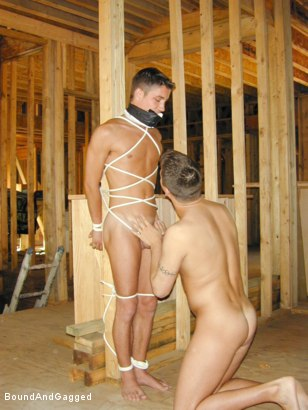 Photo number 6 from Bondage Under Construction: Get on Your Knees and Beg shot for Bound And Gagged on Kink.com. Featuring Jim Richards and Brent Woods in hardcore BDSM & Fetish porn.