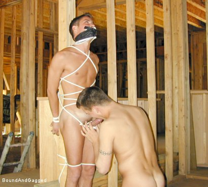 Photo number 7 from Bondage Under Construction: Get on Your Knees and Beg shot for Bound And Gagged on Kink.com. Featuring Jim Richards and Brent Woods in hardcore BDSM & Fetish porn.