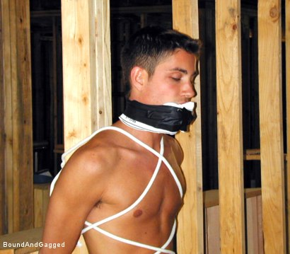 Photo number 8 from Bondage Under Construction: Get on Your Knees and Beg shot for Bound And Gagged on Kink.com. Featuring Jim Richards and Brent Woods in hardcore BDSM & Fetish porn.