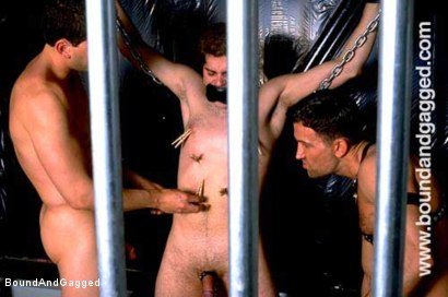 Photo number 1 from Boynapped!: Abusing the House Slave  shot for Bound And Gagged on Kink.com. Featuring Sam Dixon, Matt Sizemore and Tony Santis in hardcore BDSM & Fetish porn.