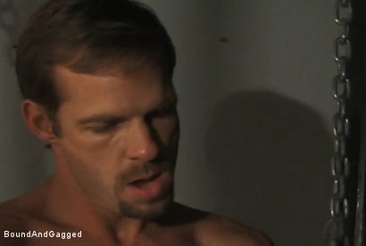Photo number 1 from The Salesman: Blindfolded, Chairbound & Tongue Out.. Successful Sale  shot for Bound And Gagged on Kink.com. Featuring Michael Brandon and Luke Sabre in hardcore BDSM & Fetish porn.