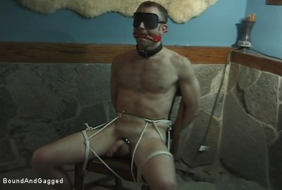 Photo number 2 from The Salesman: Blindfolded, Chairbound & Tongue Out.. Successful Sale  shot for Bound And Gagged on Kink.com. Featuring Michael Brandon and Luke Sabre in hardcore BDSM & Fetish porn.
