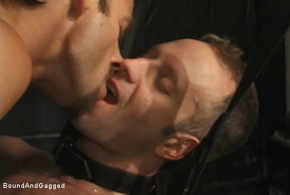 Photo number 5 from The Salesman: Blindfolded, Chairbound & Tongue Out.. Successful Sale  shot for Bound And Gagged on Kink.com. Featuring Michael Brandon and Luke Sabre in hardcore BDSM & Fetish porn.