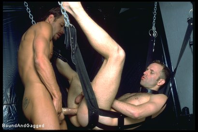 Photo number 7 from The Salesman: Blindfolded, Chairbound & Tongue Out.. Successful Sale  shot for Bound And Gagged on Kink.com. Featuring Michael Brandon and Luke Sabre in hardcore BDSM & Fetish porn.