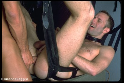 Photo number 8 from The Salesman: Blindfolded, Chairbound & Tongue Out.. Successful Sale  shot for Bound And Gagged on Kink.com. Featuring Michael Brandon and Luke Sabre in hardcore BDSM & Fetish porn.