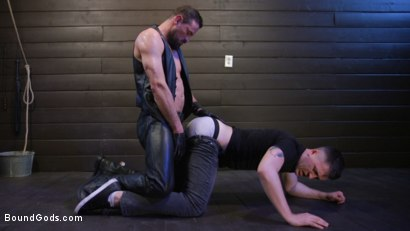 Photo number 3 from Tyler Rush Cowers Before Max Ferro shot for Bound Gods on Kink.com. Featuring Tyler Rush and Max Ferro in hardcore BDSM & Fetish porn.