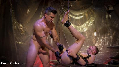 Photo number 16 from New Boy Tom Bentley Fucked by Leather Doctor Trenton Ducati  shot for Bound Gods on Kink.com. Featuring Trenton Ducati and Tom Bentley in hardcore BDSM & Fetish porn.