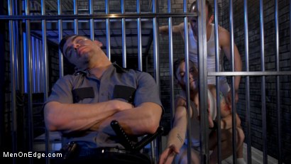 Photo number 4 from New CO falls asleep on the job and gets milked by two horny inmates shot for Men On Edge on Kink.com. Featuring Jeremy Spreadums in hardcore BDSM & Fetish porn.