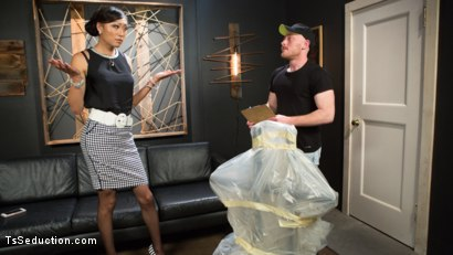 Photo number 2 from Obedient Boy: Venus Lux Torments & Fucks Her Delivery Boy shot for TS Seduction on Kink.com. Featuring Venus Lux and Damien Moreau in hardcore BDSM & Fetish porn.