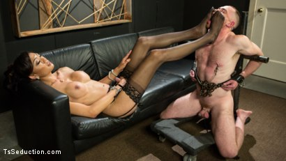 Photo number 5 from Obedient Boy: Venus Lux Torments & Fucks Her Delivery Boy shot for TS Seduction on Kink.com. Featuring Venus Lux and Damien Moreau in hardcore BDSM & Fetish porn.