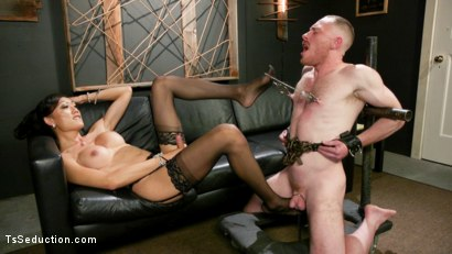 Photo number 7 from Obedient Boy: Venus Lux Torments & Fucks Her Delivery Boy shot for TS Seduction on Kink.com. Featuring Venus Lux and Damien Moreau in hardcore BDSM & Fetish porn.