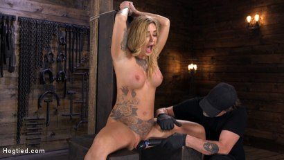 Photo number 8 from Tattooed Slut Is Tormented In Bondage And Made To Cum shot for Hogtied on Kink.com. Featuring Kleio Valentien in hardcore BDSM & Fetish porn.