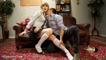 Photo number 3 from The Tutor: Lena Kelly Teaches Corbin Dallas To Handle A Lady's Cock shot for TS Seduction on Kink.com. Featuring Lena Kelly and Corbin Dallas in hardcore BDSM & Fetish porn.
