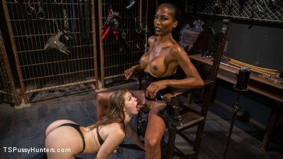 Photo number 5 from Natassia Dreams' Slutty Leather Sex Kitten, Ella Nova shot for TS Pussy Hunters on Kink.com. Featuring Natassia Dreams and Ella Nova in hardcore BDSM & Fetish porn.