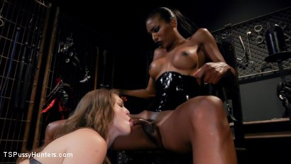 Photo number 7 from Natassia Dreams' Slutty Leather Sex Kitten, Ella Nova shot for TS Pussy Hunters on Kink.com. Featuring Natassia Dreams and Ella Nova in hardcore BDSM & Fetish porn.