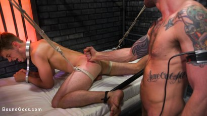 Photo number 3 from BOUND PRISON: Bad boy inmate Cliff Jensen breaks in new guard DelRay shot for Bound Gods on Kink.com. Featuring Cliff Jensen and Michael DelRay in hardcore BDSM & Fetish porn.