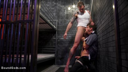 Photo number 4 from BOUND PRISON: Bad boy inmate Cliff Jensen breaks in new guard DelRay shot for Bound Gods on Kink.com. Featuring Cliff Jensen and Michael DelRay in hardcore BDSM & Fetish porn.