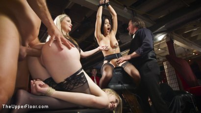 Photo number 6 from Uncollared Anal Cum Sluts Serve Swingers Ball  shot for The Upper Floor on Kink.com. Featuring Ramon Nomar, Kendra Spade, Riley Reyes and Aiden Starr in hardcore BDSM & Fetish porn.