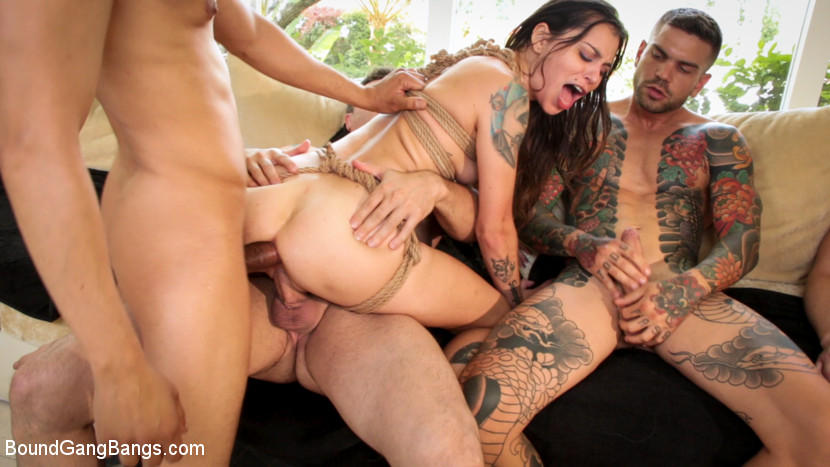 BoundGangBangs.com - Anal Slut Kacie Castle Gang Fucked & Bound by Voracious Neighbors