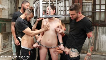 Photo number 3 from Horny Lil' Sex Slave: Miranda Miller Gets Fucked By Five Friends  shot for Bound Gang Bangs on Kink.com. Featuring Miranda Miller, Dillon Cox , Sam Shock , Juan Lucho, Zac Wild and Donny Sins in hardcore BDSM & Fetish porn.