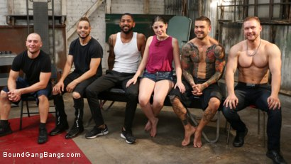 Photo number 29 from Horny Lil' Sex Slave: Miranda Miller Gets Fucked By Five Friends  shot for Bound Gang Bangs on Kink.com. Featuring Miranda Miller, Dillon Cox , Sam Shock , Juan Lucho, Zac Wild and Donny Sins in hardcore BDSM & Fetish porn.