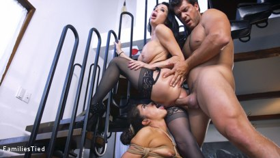Photo number 19 from The Nymphomaniac's Lil Sister: Veronica Avluv Returns shot for  on Kink.com. Featuring Veronica Avluv, Victoria Voxxx and Ramon Nomar in hardcore BDSM & Fetish porn.