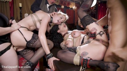 Anal Sluts Tied Down for Service at BDSM Swinger Party